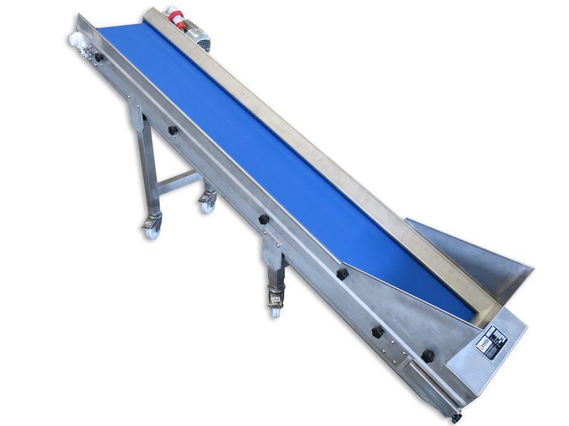 food uphill conveyor belt in stainless steel